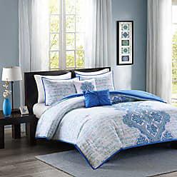 INTELLIGENT DESIGN Avani Comforter Set Full/Queen Size - Blue, Medallion Damask - 5 Piece Bed Sets - Ultra Soft Microfiber Teen Bedding for Girls Bedroom