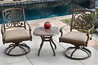 DARLEE Outdoor Darlee Santa Barbara 3 Piece Aluminum Square Patio Conversation Set - 201010-3PC-60A-MO