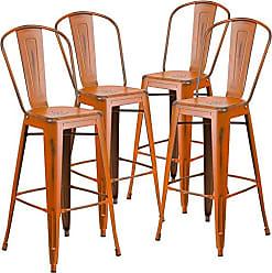 Flash Furniture 4 Pk. 30 High Distressed Orange Metal Indoor-Outdoor Barstool with Back