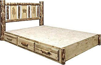 Montana Woodworks MWGCSBPQLZPINE Glacier Country Collection Queen Platform Bed Brown