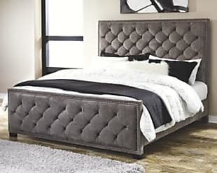 Ashley Furniture Halamay Queen Upholstered Bed, Gray