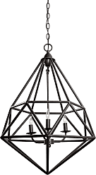 Varaluz Facet 3-Light Pendant in Forged Iron Finish