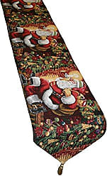 Violet Linen Decorative Christmas Tapestry Table Runner, 13 x 70, Santa Claus Design
