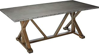 Coaster Webber Dining Table with Metal Top and Nailhead Trim Driftwood