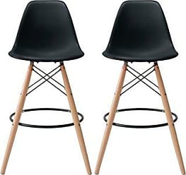 Overstock 2xhome Set of 2 25 Designer Eiffel Chairs Bar Counter Stools With Back Wood Side Molded Shell For Kitchen Office Dining Dowel (Black)
