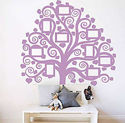 The Decal Guru Giant Family Tree Picture Wall Decal | Home Decor Vinyl Art Photo Mural Curly Branch Sticker (Lilac, 60x54 inches)