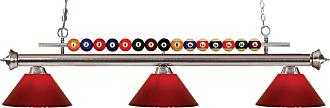 Z-Lite 170-PRD Shark 3 Light 58 Wide Billiard Chandelier with Red