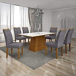 Leifer Conjunto Sala de Jantar Mesa Tampo MDF/Vidro Branco 6 Cadeiras Pampulha Leifer Imbuia Mel/Linho Cinza