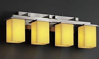 Justice Design Group CNDL-8674 - Montana 4 Light Bath Bar - Square with Flat Rim Shade - Amber Shade - CNDL-8674-15-AMBR-NCKL
