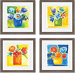 WEXFORD HOME Sunny Day Bouquet Spring Collection Flower Print 4 Panels Set Framed Décor for Home Office Wall Art, 15X15, Burly Wood