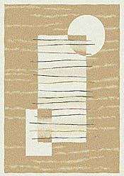 Milliken Carpet Pastiche Collection Horizon Round Area Rug, 77 x 77, Ecru