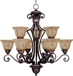 Maxim Lighting Maxim 11245SAOI Symphony 9-Light Chandelier in Oil Rubbed Bronze with Screen Amber glass