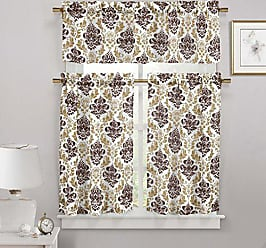 Duck River Textile S - Melbourne Medallion Kitchen Window Curtain Set, 2 Tiers 29 X 36 Inch | 1 Valance 58 X 15 Inch, Brown and Chocolate
