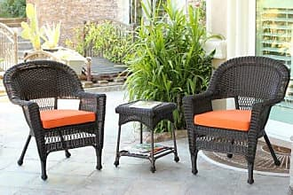 Jeco W00201_2-CES016 3 Piece Wicker End Table Set with with Orange Chair Cushion, Espresso
