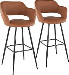 LumiSource Margarite 30 in. Upholstered Bar Stool - Set of 2 Black / Cream - B30-MARG BK+CR2