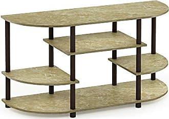 Furinno 15116BRM/BR Jaya Simple Design Corner TV Stand, Marble Brown/Brown