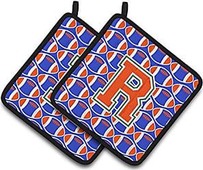 Multicolor Blue Orange Pair of Pot Holders CJ1023-HPTHD 7.5HX7.5W Carolines Treasures Monogram Initial H Tiger Stripe