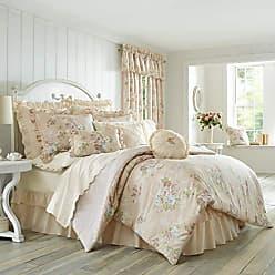 Five Queens Court Andrea 100% Cotton Floral 4 Piece Comforter Set, Blush, King, 110x96