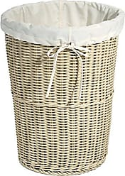 Seville Classics Large Round Wicker Weave Laundry Hamper /w Canvas Liner, Ivory
