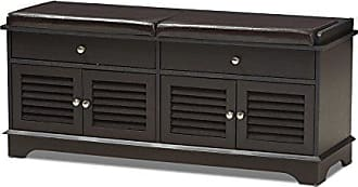 Wholesale Interiors Baxton Studio Laertes Modern and Contemporary Dark Brown Wood 2-Drawer Shoe Storage Bench