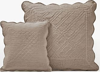 Moutarde//Taupe LOVELY CASA Duo Galette 16PTS 40X40 CM Coton