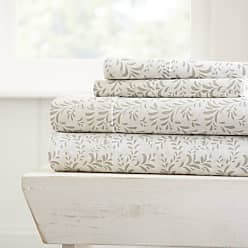 Noble Linens Burst of Vines Sheet Set by Noble Linens Light Gray, Size: Queen - NL-4PC-BOV-QUEEN-LGRAY
