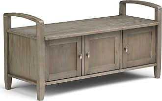 Simpli Home Warm Shaker Solid Wood Entryway Storage Bench in Distressed Grey