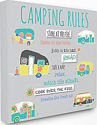 Stupell Industries Stupell Home Décor Camping Rules Typog and Icons Stretched Canvas Wall Art, 17 x 1.5 x 17, Proudly Made in USA