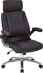 Office Star Faux Leather Seat and Back Contour Executive Chair with Padded Arms, Headrest, and Chrome Finish Accents, Black