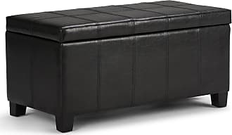Simpli Home Dover Faux Leather Storage Ottoman in Midnight Black