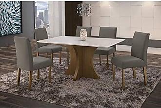 Siena Móveis Conjunto Sala de Jantar em Madeira Maciça Mesa Turim 6 Cadeiras Lara Siena Móveis Castanho/Suede 70