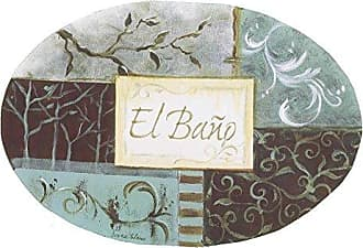 The Stupell Home Décor Collection The Stupell Home Decor Collection El Bano Aqua and Grey Patchwork Oval Bathroom Wall Plaque