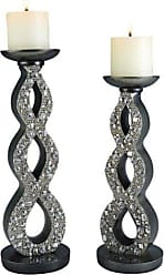 Ore International ORE International K-4249C Twilight Candleholder Set, Silver, Set of 2