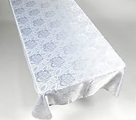 Ben&Jonah Ben & Jonah White Color 60 X 108 Polyester Fabric Tablecloth in A Floral Rose Damask Pattern Splash Collection by Ben&Jonah