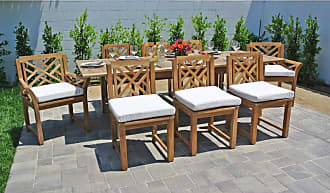 Willow Creek Designs Outdoor Willow Creek Designs Monterey Teak 9 Piece Rectangular Patio Dining Set with Expansion Table Canvas Heather Beige - WC-1-5422