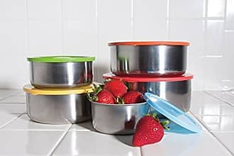 Imperial Home 10 Pcs Stainless Steel Mixing Bowls or Food Storage Containers Set with Colored Lids