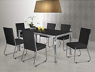 Siena Móveis Conjunto Sala de Jantar Mesa Olívia 6 Cadeiras Siena Móveis Preto