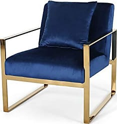 Christopher Knight Home 309012 Agatha Stainless Steel Modern Glam Arm Chair with Removable Accent Pillow - Navy Blue and Rose Gold Finish