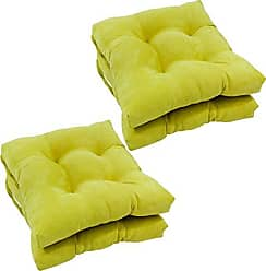 Blazing Needles Solid Microsuede Square Tufted Chair Cushions (Set of 4), 16, Mojito Lime