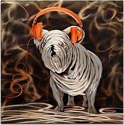 Omax Decor OMAX Decor Rocking My Orange Headphones Metal Wall Art - MY3008