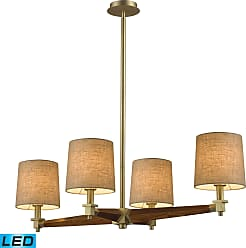 Elk Lighting Jorgenson 4 Light Chandelier In Mahogany And Satin Brass - LED - 800 Lumens (3200 Lumens Total) Wi