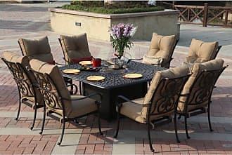 DARLEE Outdoor Darlee Santa Anita Cast Aluminum 9 Piece Square Patio Propane Fire Pit Dining Set - 301120-9PC-60GW