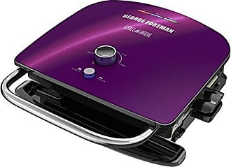 George Foreman GBR5750SEPQ Grill & Broil 7-in-1 Electric Indoor Grill, Broiler, Panini Press, and Waffle Maker, Removable Plates, Purple