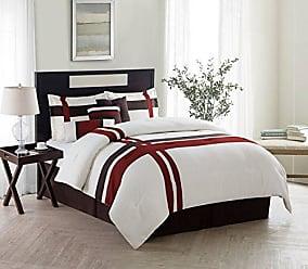 VCNY Home VCNY Home Berkley Striped Print 7 Piece Bedding Comforter Set, King, Ivory/RED