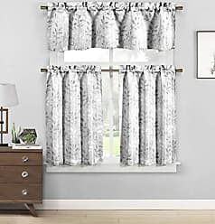 Duck River Textile Neile Floral Jacq Kitchen Curtain 58 in. W x 16 in. L in Silver (2 Pieces), 58x16 (1 Piece) 29x36 (2 Pieces)