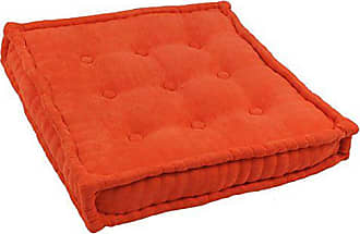Blazing Needles Square Corded Floor Pillow with Button Tufts, 25, Tangerine Dream