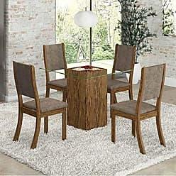 Viero Conjunto para Sala de Jantar Mesa e 4 Cadeiras Viero Via Avelã/Canela