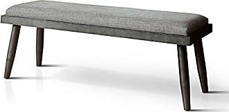 FURNITURE OF AMERICA HOMES: Inside + Out IDF-3360BN Gray Lanza Mid-Century Modern Bench