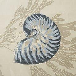Madison Park Bayside Printed Ivory Navy Window Valance, Cotton Printed Rod Pocket Valances for Windows, 50X18, Dark Blue