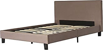 US Pride Furniture Fabric Upholstery Platform Bed with Wooden Slats, Full, Brown